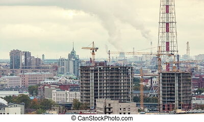 Construction. St. Petersburg cloudy day time lapse. - Aerial...