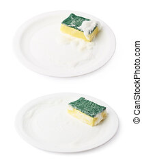 Foam covered sponge over ceramic plate - Foam covered dish...