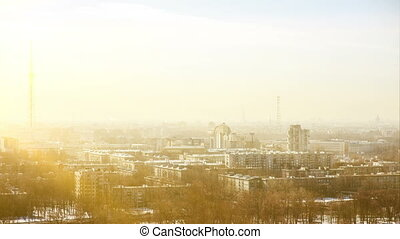 St. Petersburg sunny day time lapse. - Aerial view of city...