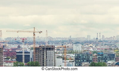 Construction St Petersburg cloudy day time lapse - Aerial...