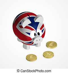 piggy bank with united kingdom flag and pound coins