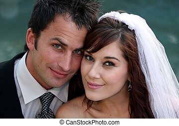 Wedding Couple Portrait - Gorgeous young wedding couple...