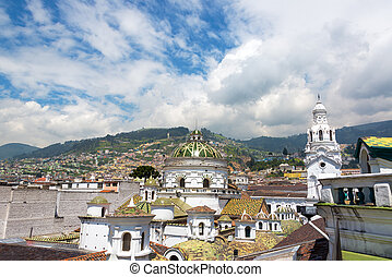 Quito Cathedral Dome and Spire - Green dome and white spire...