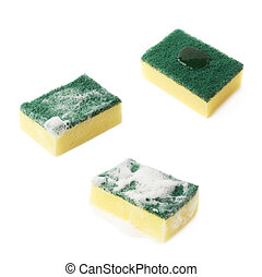 Three stages of kitchen sponge isolated - Three stages of...