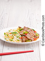 Mongolian Noodles with Beef - North Asian dish Mongolian...