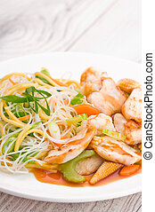 Teriyaki Chicken with Noodles - Asian Chinese cuisine...