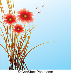blue background with red flowers