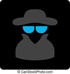 Spy icon. Vector style is bicolor flat symbol, gray and...
