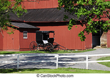 Amish Barn and Buggy - An Amish buggy parked by a red barn...
