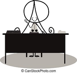 Doodle Receptionist - black and white