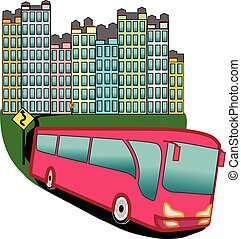 Bus in the city - full colour