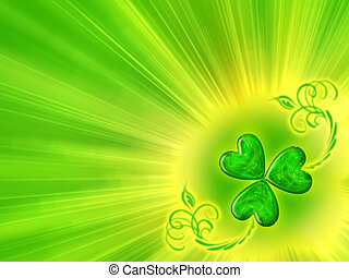clover - Glowing clover. St. Patrick\'s Day background.