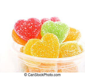 Close-up of sugared candy hearts for Valentine's Day
