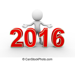 3d man new year 2016 welcome - 3d rendering of man with open...