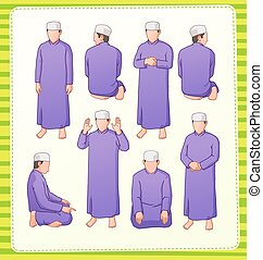 muslim praying postion - set illustration of muslim praying...