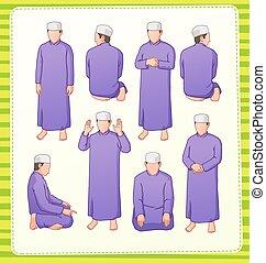 muslim praying postion - set illustration of muslim praying...
