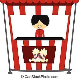 Doodle Popcorn Seller - Full Color