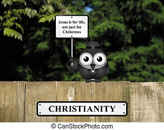 Jesus is for Life - Comical bird vicar with Christianity and...