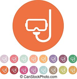 The scuba mask icon. Diving symbol. Flat Vector...