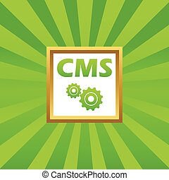 CMS settings picture icon - Text CMS and two gears in golden...
