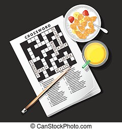 illustration of crossword game with cereal bowl and pineapple juice