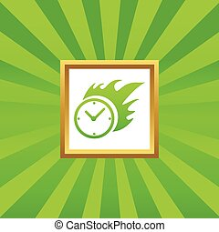 Burning time picture icon - Image of burning clock in golden...