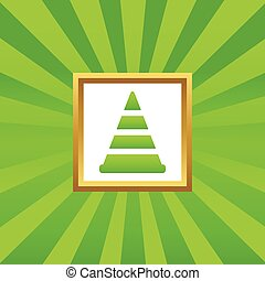 Traffic cone picture icon - Image of traffic cone in golden...