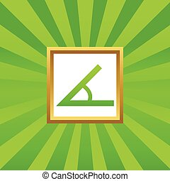 Angle picture icon - Image of angle in golden frame, on...