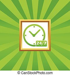 Overnight daily workhours picture icon - Clock with text 24...