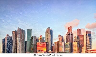 Singapore timelapse panorama - Skyline of Singapore's...
