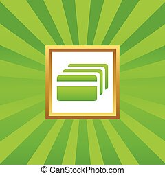 Credit card picture icon - Image of credit card in golden...