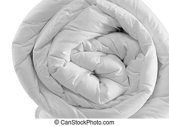 Rolled up duvet - Duvet, isolated.