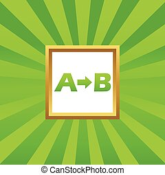 A to B picture icon - Letters A, B and arrow in golden...