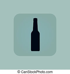 Pale blue alcohol icon - Image of beer bottle in square, on...