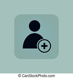 Pale blue add user icon - Image of user icon and plus in...