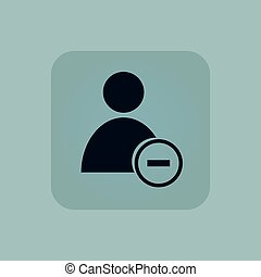 Pale blue remove user icon - Image of user icon and minus in...