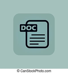 Pale blue DOC file icon - Image of document page with text...