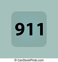 Pale blue 911 icon - Text 911 in square, on pale blue...