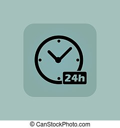 Pale blue 24h workhours icon - Image of clock with text 24h...
