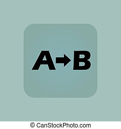 Pale blue A B icon - Letters A, B and arrow in square, on...
