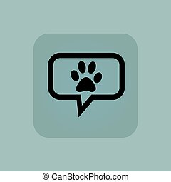 Pale blue paw message icon