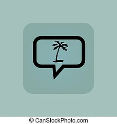 Pale blue vacation message icon - Plam on beach in chat...
