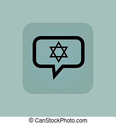 Pale blue Star David message - Star of David in chat bubble,...