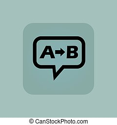 Pale blue A B message - Letters A, B and arrow in chat...