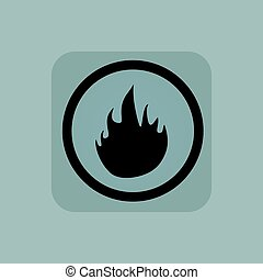 Pale blue fire sign - Flame image in circle, in square, on...