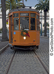 vintage streetcar of San Francisco - vintage orange...