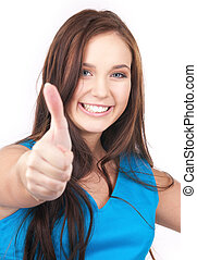 thumbs up - bright picture of lovely woman with thumbs up