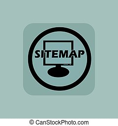 Pale blue sitemap sign - Text SITEMAP in front of screen in...