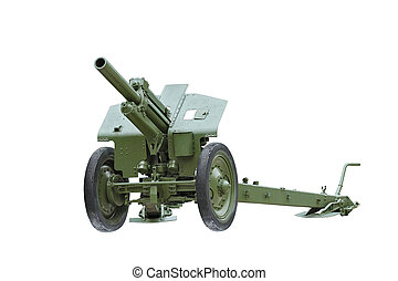 Artillery gun The howitzer - 122 mm Howitzer M-30 on a white...