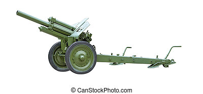 Artillery gun - 122 mm Howitzer M-30 green color on a white...